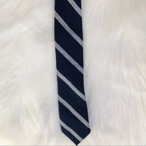 Bar III Navy Blue and White Striped Tie